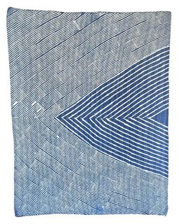 Inyo, one of Block Shop's newest creations, is a baby quilt that's resist-dyed in rich indigo.