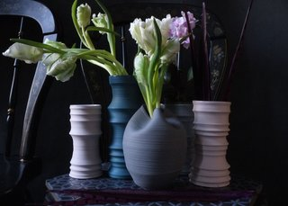 Collection of porcelain vases from Wrenlab Ceramics.