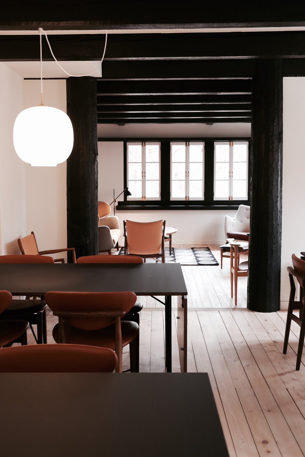 Dining Room, Table, Chair, and Pendant Lighting  Photo 2 of 5 in Finn Juhl Design Hotel Opens in Nagano, Japan