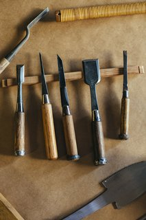 Led by Hisao Hanafusa, 80, with help from his son Zui, 45, Miya Shoji also makes tansu chests, tatami platform beds, and other furniture. Nomi, or Japanese chisels, are some of the most-used tools of the trade.