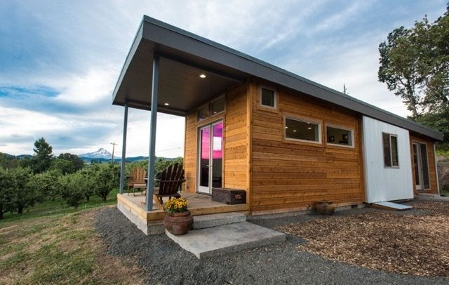 Exterior, Prefab Building Type, Wood Siding Material, Flat RoofLine, House Building Type, and Cabin Building Type Project Name: Orchard  Website: http://www.ideabox.us/  Photo 5 of 23 in 22 Modern Prefab Companies That Every Homebuyer Can Rely On
