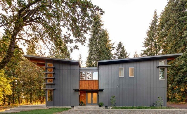 Exterior, Prefab Building Type, House Building Type, and Butterfly RoofLine Project Name: Boring, OR  Website: http://stillwaterdwellings.com/  Photo 10 of 23 in 22 Modern Prefab Companies That Every Homebuyer Can Rely On
