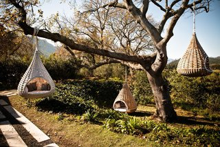 Dedon's Hanging Lounger, designed by Daniel Pouzet and Fred Frety can be an instant mini-tree house escape. All you need is the right tree to hang it from.