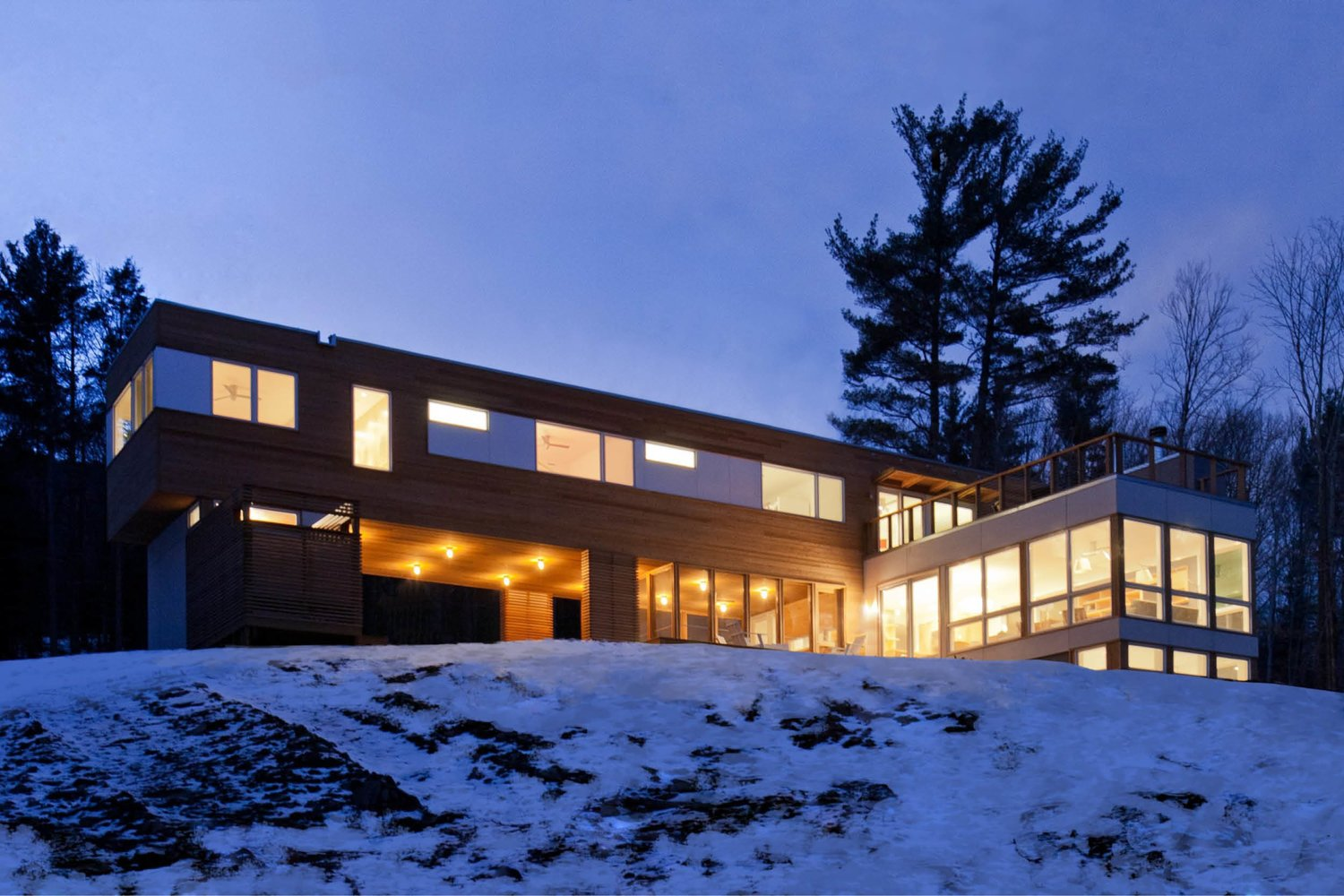 Exterior, Prefab Building Type, and Wood Siding Material Project Name: Olive Bridge House  Photo 12 of 20 in 19 Modern Prefab Companies Perfect for Mountain Living