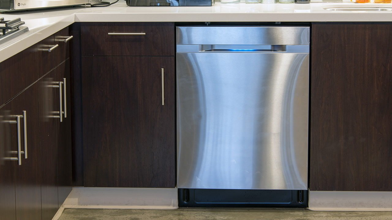 Samsung's WaterWall technology creates a wall of water that glides over dishes, but users can also customize wash settings based on different zones of the dishwasher to target specific items. The stainless-steel door features an LED display, and it remains in the realm of quieter models at 44 decibels.  Photo 6 of 6 in 5 Modern Dishwashers