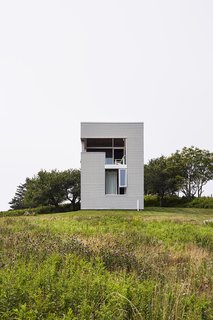Over time, the salt air will soften the appearance of the exterior's Galvalume cladding.