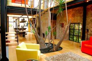 The 200-year-old hacienda features a Yucca tree, which divides the living space, dining area, and a rooftop terrace that features gorgeous views of the surrounding gardens and mountains.