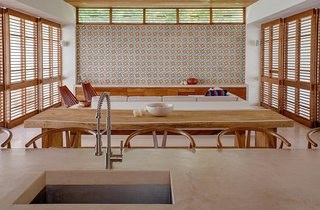 This bold, colorful tile is installed in large sections throughout the entire casa.