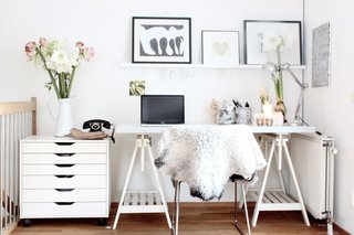 Small nooks and corners can provide office space when working on a limited budget.