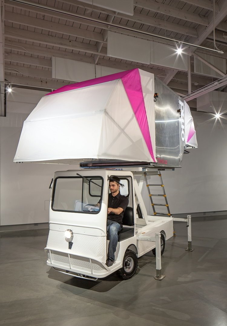 The AERO-Mobile is a movable flexible exhibition and retail space made of recycled parts discarded by the aerospace industry. This impermanent architecture envisions buildings as a series of ULD's (Unit Load Device) up-cycled as exhibition space platforms, mounted on electric trucks, allowing for spontaneous pop-up experiences to be deployed throughout cities.  Photo 8 of 15 in Eco-Friendly Prefabs and the Modern Mobile Home: Spotlight on Jennifer Siegal