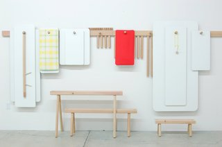 10 Functional Pieces For Small Space Living - Photo 3 of 11 - The Peg Series is a flexible furniture system made up of simple components that can be assembled in a variety of ways. When not in use, the pieces can hang flat against the wall.