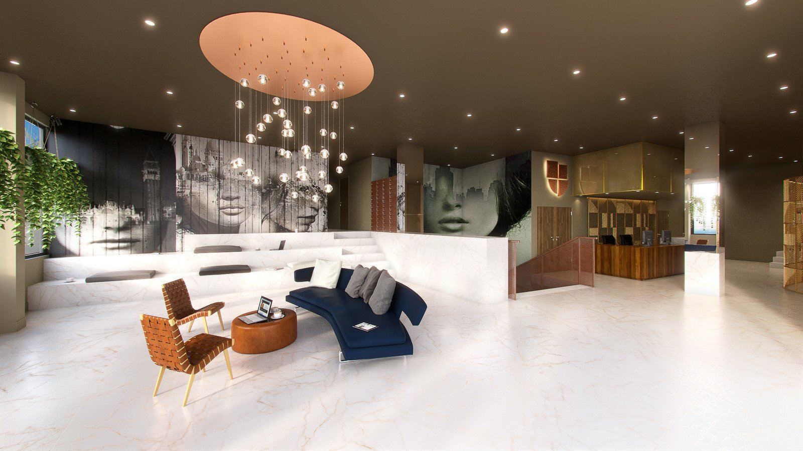 Living Room, Sofa, Chair, Pendant Lighting, and Recessed Lighting  Photo 3 of 8 in The City of Lisbon Inspired the Design of This Surprisingly Luxurious Student Residence