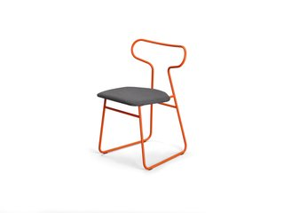 Loop chair </p><p> Rodet, which has shaped tubular steel for nearly 40 years, likens the powder-coated lines of Fred Rieffel's chair to the curves of a race track.   rodet-home.net