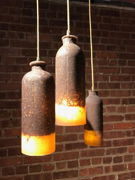 The US debut of the cork-and-silicone Loev pendants by Dutch industrial designer Renate Vos, who is quickly making a name for mixing unusual materials to bold effect. Spotted at Wanted.  Photo 5 of 36 in The Best of New York Design Week 2017