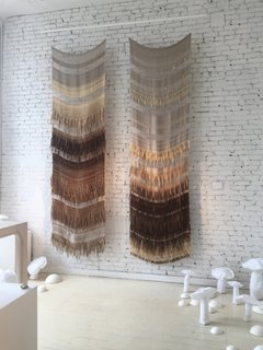 "High praise to Colony for their excellent exhibition entitled ""Lightness: The Full Spectrum""—shown here are wool, mohair, and linen pieces by textile designer Hiroko Takeda."