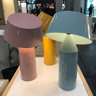 Bicoca is a USB-chargeable polycarbonate lamp designed by Christophe Mathieu for Spanish lighting company Marset. Each piece is lightweight, with a dimmable LED light source and a tilting shade. It comes in six colors.