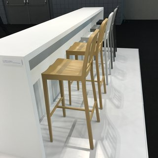 Emeco also introduced their soon-to-launch counter-height version of their famous Navy 111 Chair, which is made from recycled plastic bottles.