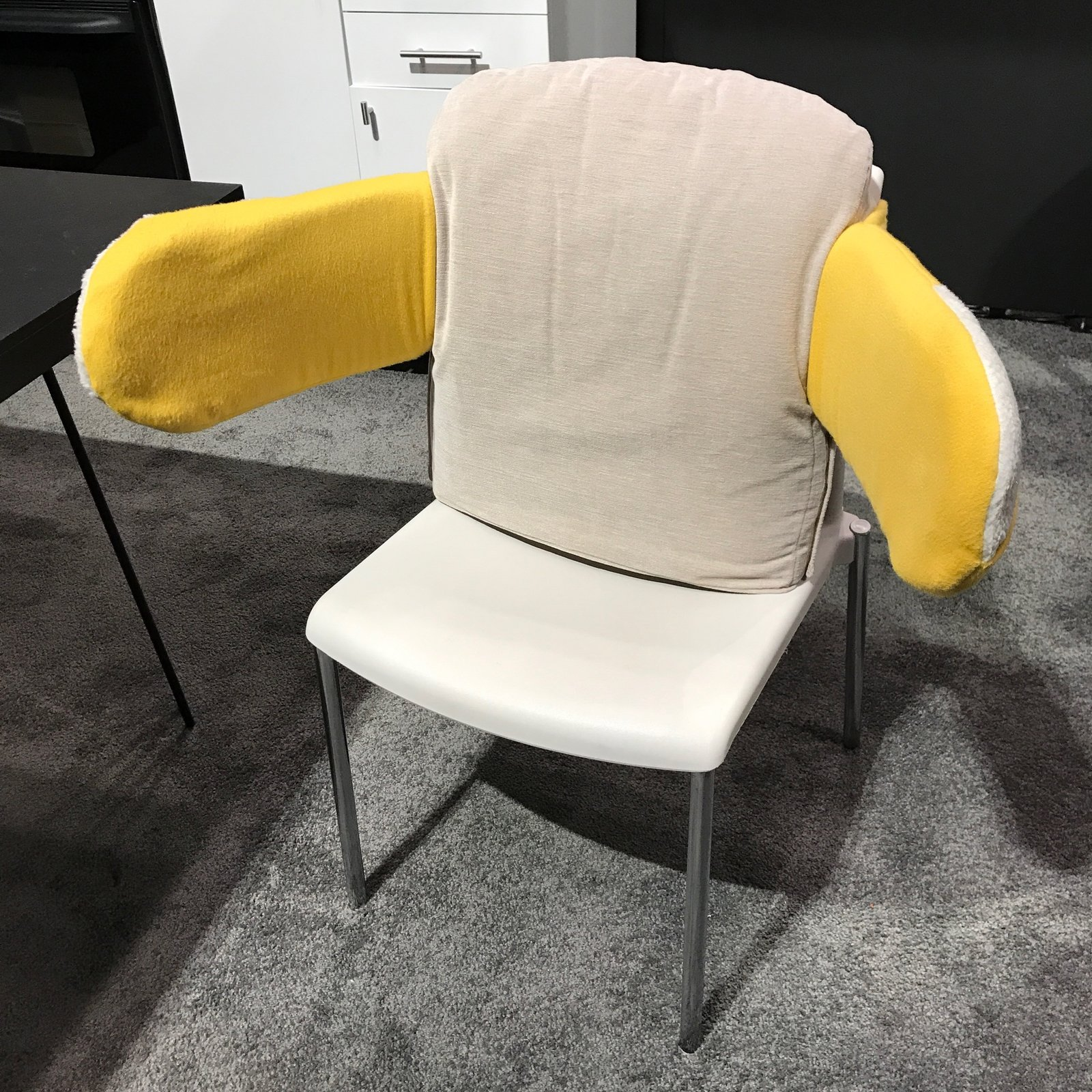 The Hug Chair is a prototype seating piece for Alzheimer's patients, introduced at part of Pratt's installation at ICFF entitled Designed for the Mind. It was created by Nick Petcharatana.  Photo 32 of 36 in The Best of New York Design Week 2017