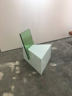 Tension is the theme of Nun x Office GA's half-glass chair, displayed at Site Unseen.