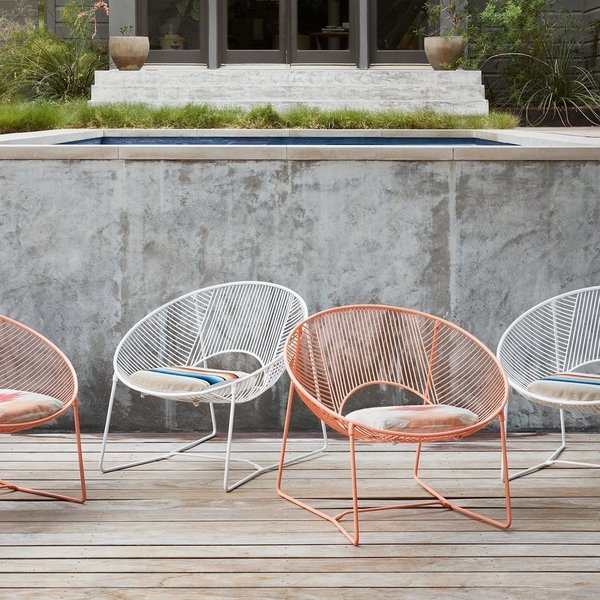 Created by Coyoacán Design Studio, these playful chairs are available as a limited edition series from The Citizenry. Handcrafted in Mexico City with powder-coated steel, they come with a handwoven cushion that's made by a fair-trade cooperative in Peru. Each chair takes almost two days to complete.