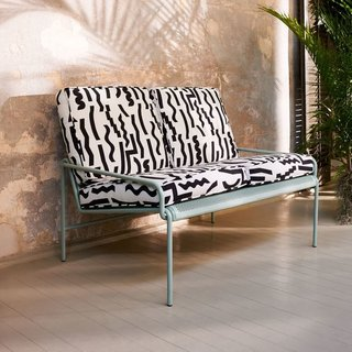 This outdoor collection for West Elm resulted from a collaboration between L.A.-based metal worker Eric Trine, and Brooklyn-based textile designer Ellen Van Dusen. Trine's powder-coated steel frame sofa paired with Dusen Dusen's bold, graphic cushions will be a standout in any backyard.