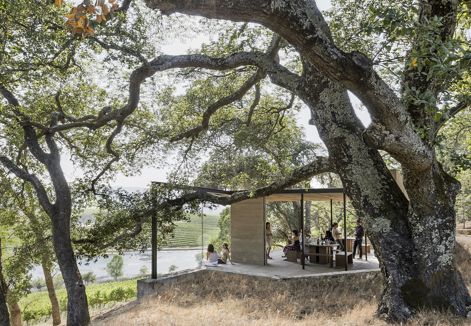 Outdoor, Shrubs, Large Patio, Porch, Deck, Trees, and Slope  Best Photos from These 7 Outdoor Pavilions Allow You to Connect With the Outdoors Comfortably