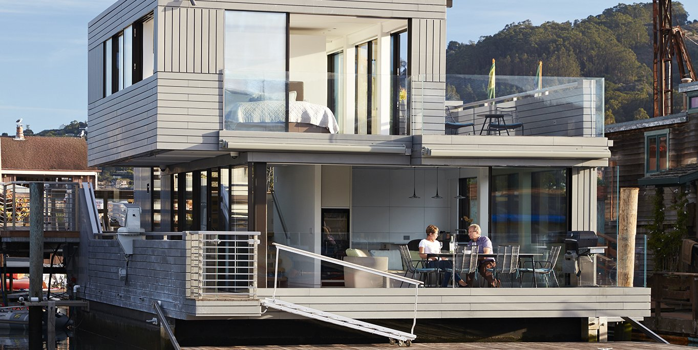 Exterior, Wood Siding Material, House Building Type, and Flat RoofLine  Floating Dreams Residence from Water Sports