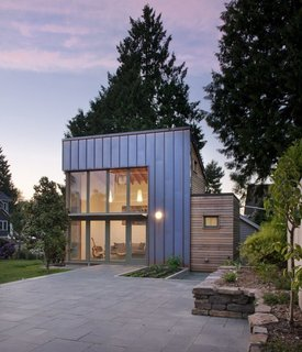 """8 Modern In-Law Units - Photo 1 of 16 - This Seattle ADU makes a modern statement that's clad in copper and cedar. The backyard """"garden pavilion"""" connects to the main house by way of an expansive slate courtyard."""