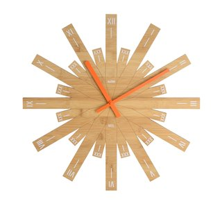Raggiante, 2017. A recent creation for Italian manufacturer Alessi, this bamboo clock features Roman numberals and a distinctive form with a diameter of nearly 20 inches. alessi.com