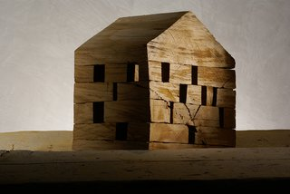 C41, 2006. In 2004, De Lucchi began creating a series of small wood structures, each carved using a chainsaw. The collection is his statement about essentiality of architecture.