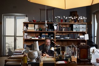Michele De Lucchi in his Milan studio, which is located in a converted Art Nouveau building.