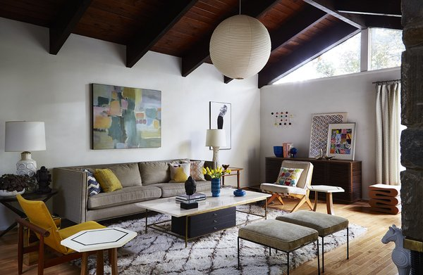 Living, Sofa, Chair, Stools, Storage, Ottomans, Ceiling, Table, End Tables, Coffee Tables, Lamps, Pendant, Light Hardwood, and Rug  Best Living Stools Ottomans Table Photos from How to Update a Midcentury Modern Gem