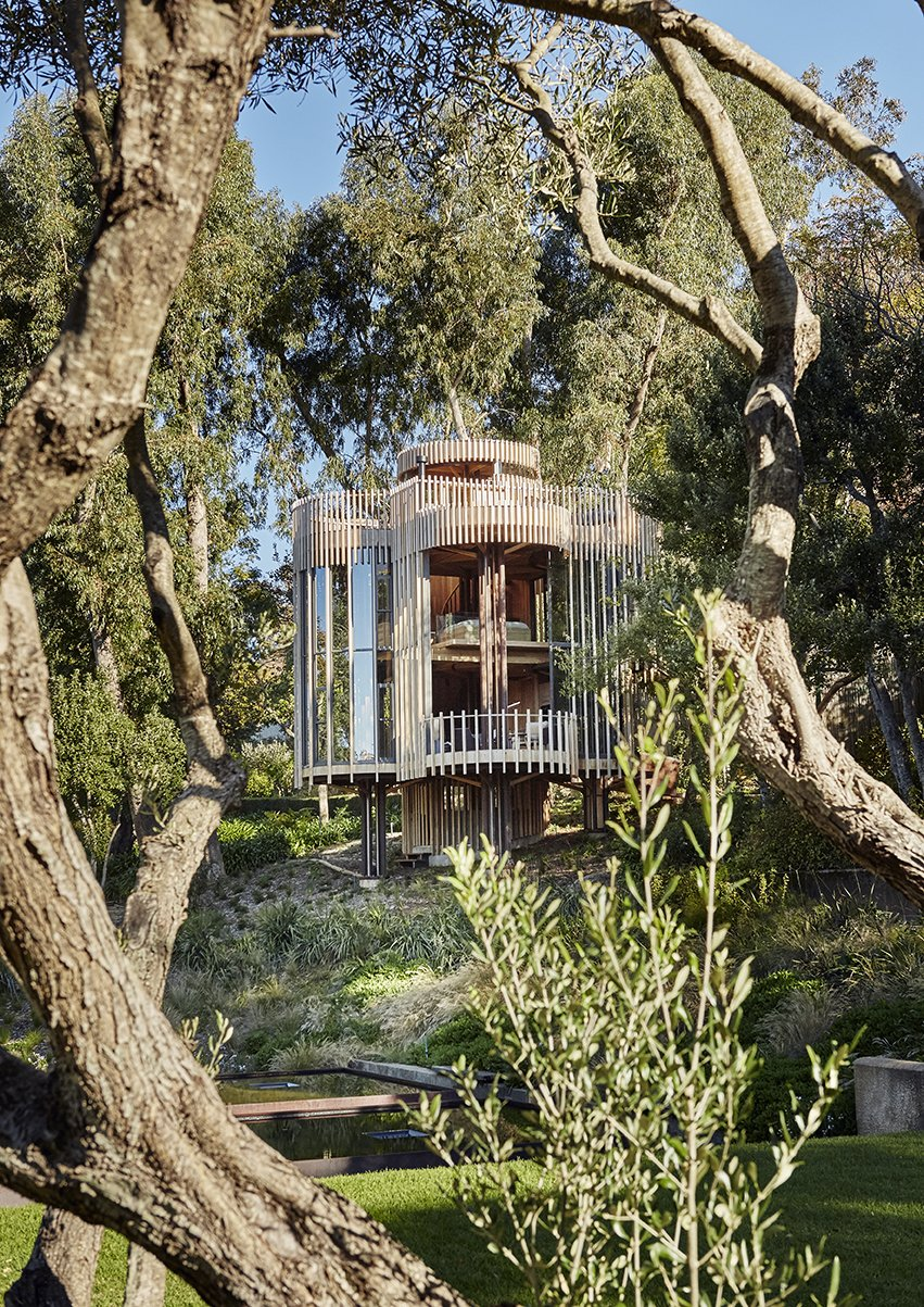 Outdoor, Trees, Woodland, Front Yard, Shrubs, and Grass Half-round bays project to form a balcony, a pergola, a dining alcove, and a bathroom. Dix Aluminium and Glass doors and windows face four reflection ponds.  Photo 8 of 9 in A Floating South African Cabin Borrows From the Landscape