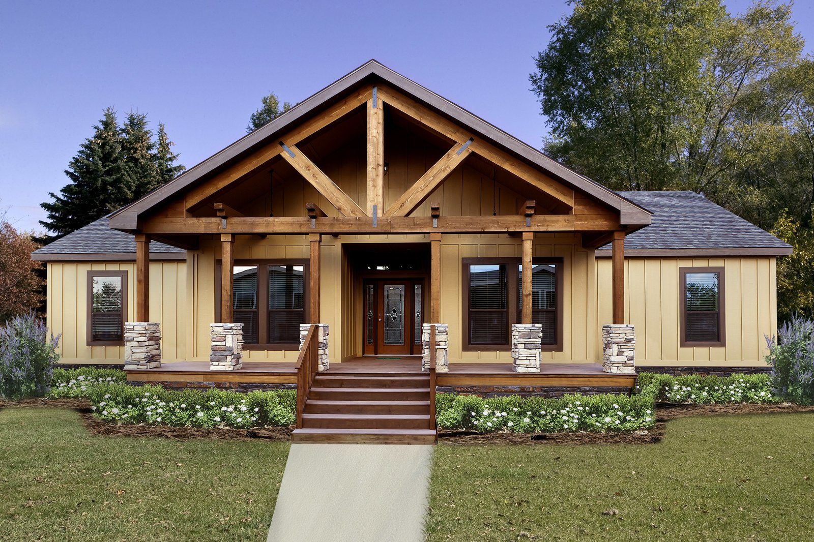 Pratt modular homes are budget friendly and customizable, with over 300 standard kit home floor plans to choose from with an infinite number of possibilities. Tagged: Exterior, House, Prefab Building Type, Wood Siding Material, and Gable RoofLine.  Photo 9 of 11 in 10 Kit Home Companies in the South