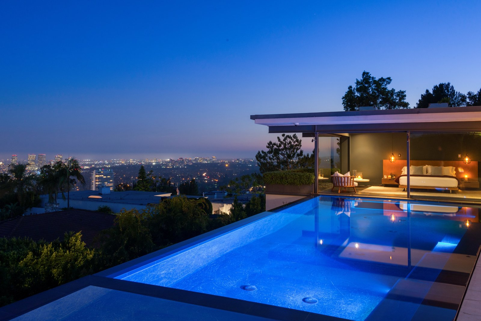 Outdoor, Large Patio, Porch, Deck, Trees, Back Yard, and Infinity Pools, Tubs, Shower  Hopen Place
