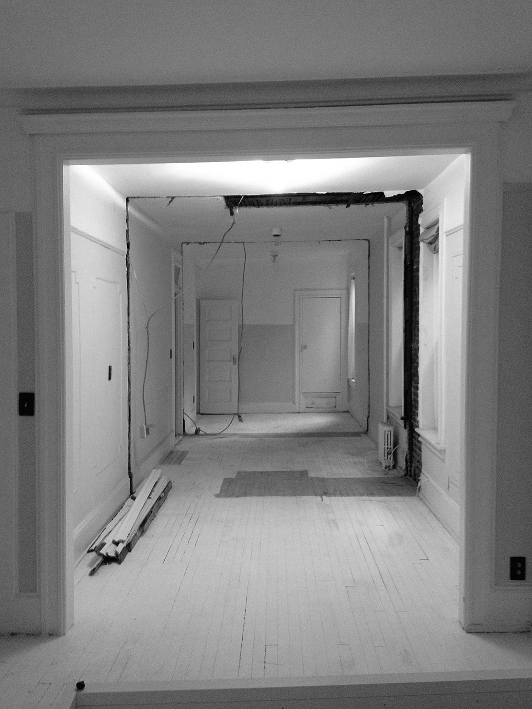 Hallway  Photo 10 of 13 in A Pair of Designers Renovate Their Brooklyn Brownstone With a Bright Monochromatic Palette