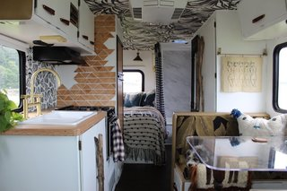 The new, modern-bohemian interiors of the renovated RV.