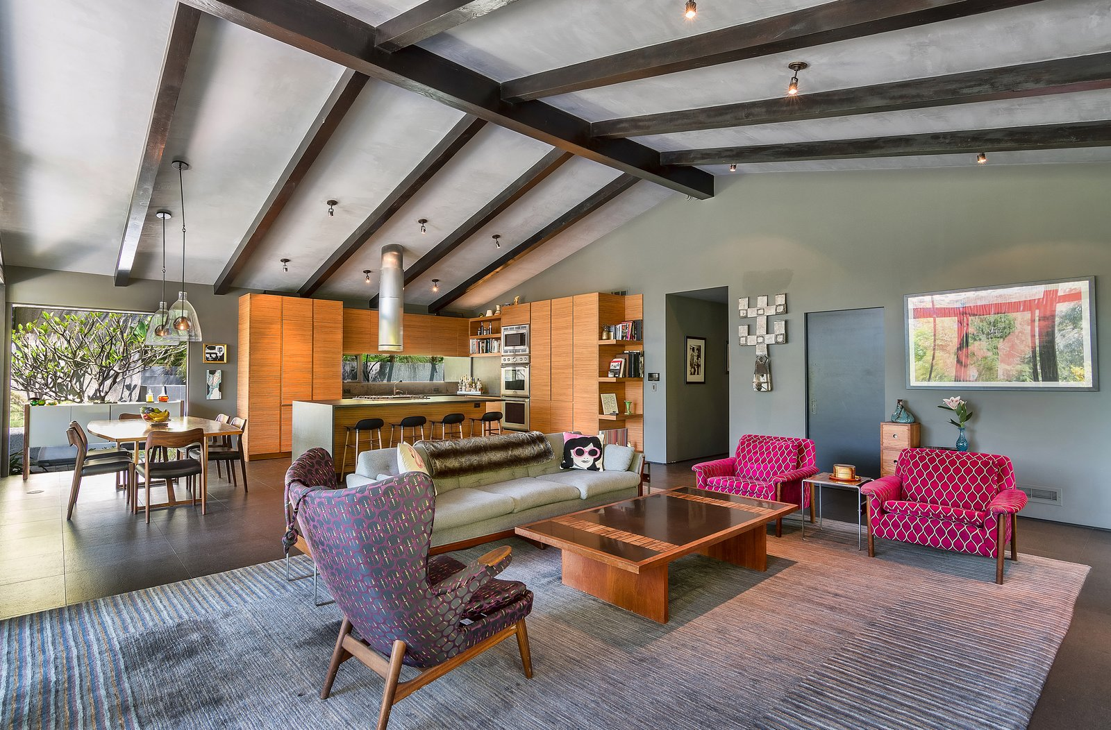 Living Room, Chair, Coffee Tables, Sofa, and Ceiling Lighting  Photo 4 of 14 in John Legend and Chrissy Teigen's Former Midcentury Home in the Hollywood Hills Is For Sale