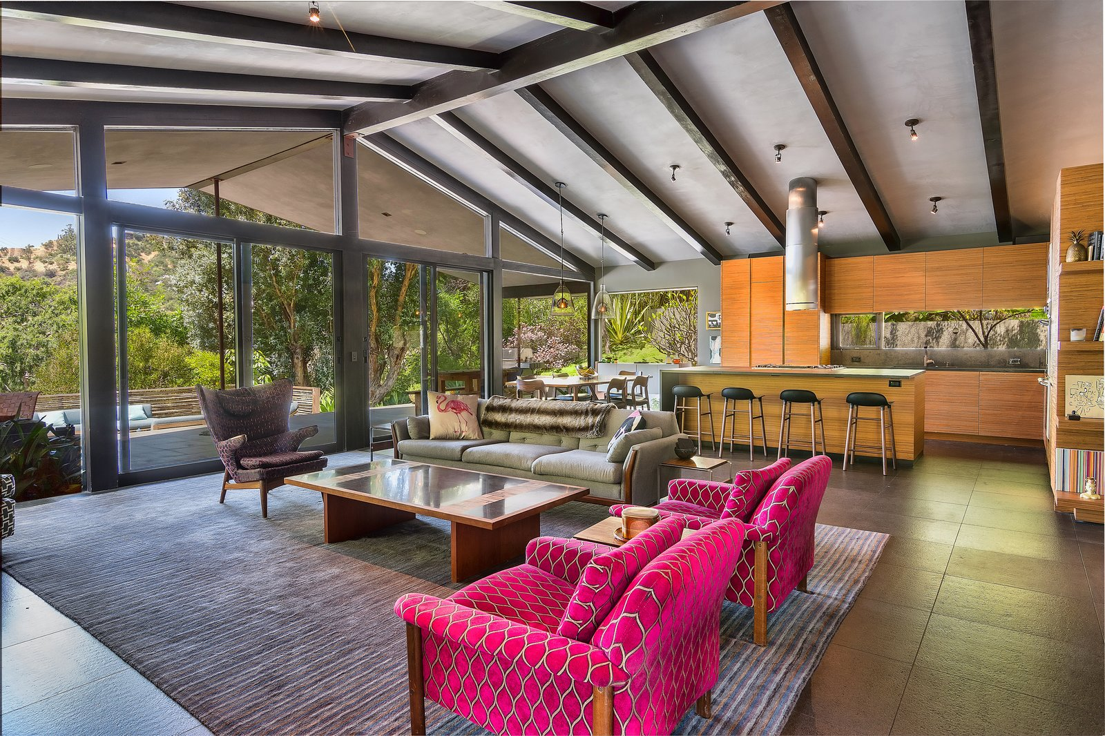 Living Room, Chair, Ceiling Lighting, Coffee Tables, Sofa, and Stools  Photo 3 of 14 in John Legend and Chrissy Teigen's Former Midcentury Home in the Hollywood Hills Is For Sale