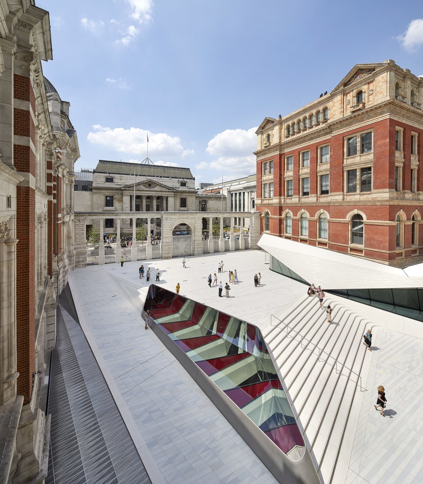 The Sackler Courtyard and cafe at the V&A's Exhibition Road Quarter.  Photo 2 of 10 in Part of an Epic Expansion, London's V&A Museum Paves its Courtyard With 11,000 Porcelain Tiles