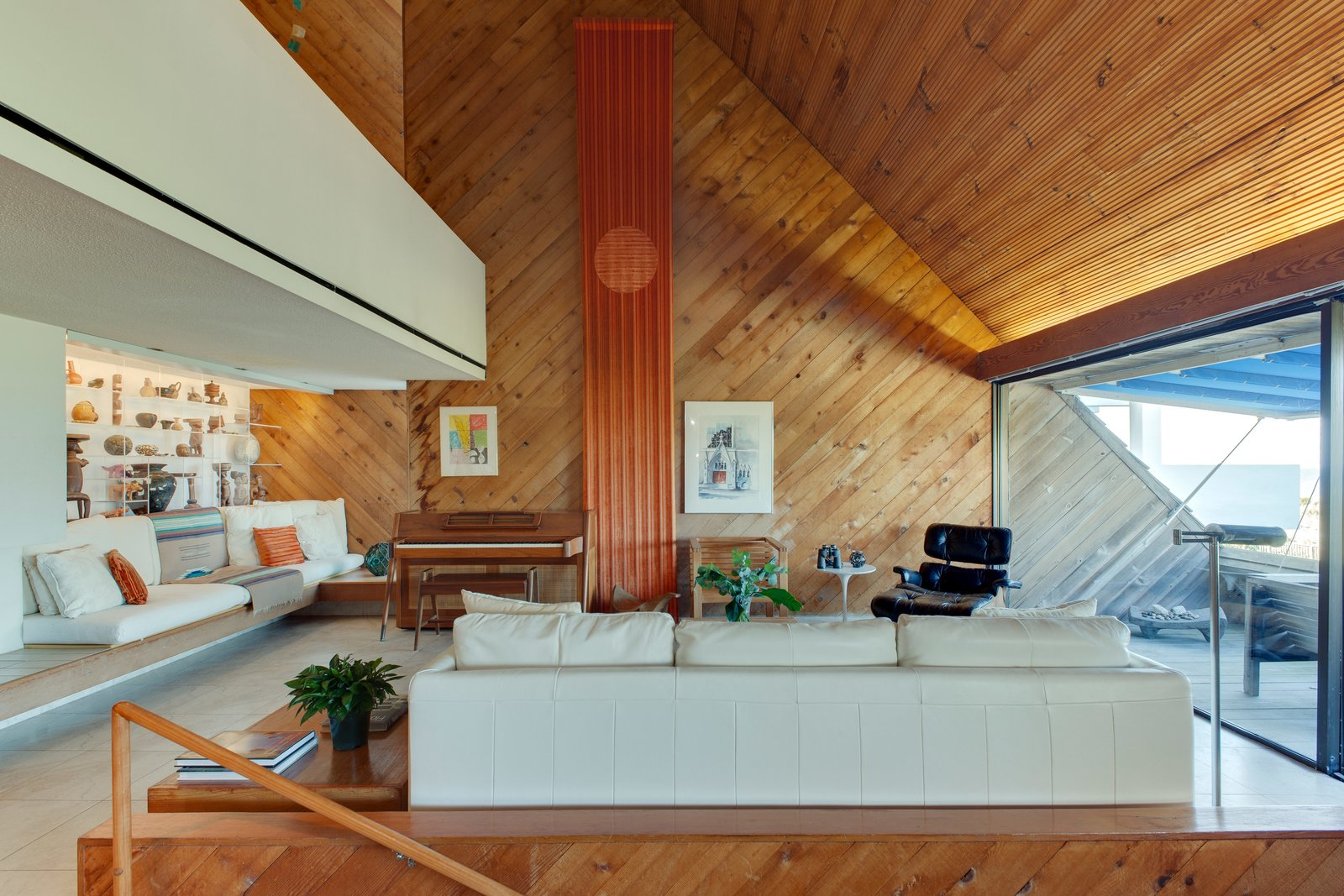 Living Room, Sofa, and Chair  Photo 8 of 13 in A Renowned Florida Architect's Geometric Family Home Hits the Market For the First Time