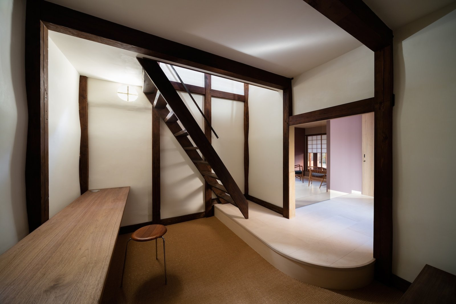 Staircase and Wood Tread  Nichinichi Townhouse from A Minimalist Townhouse Provides Serene Accommodations in Historic Kyoto