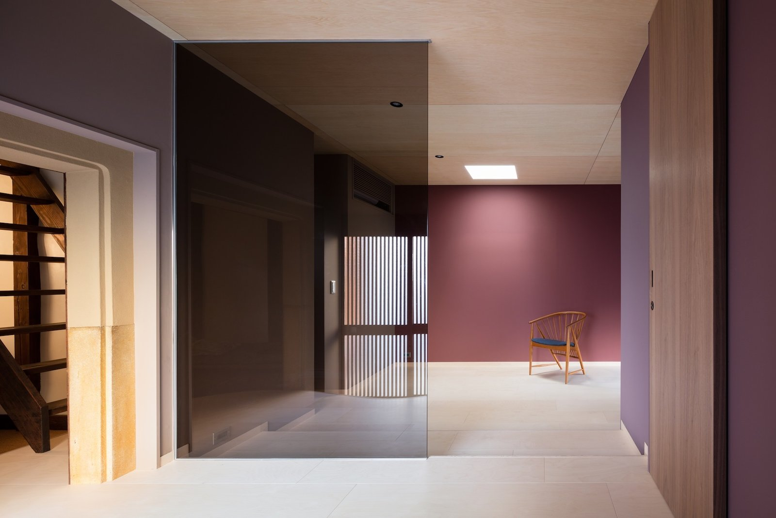 Living Room, Chair, and Recessed Lighting  Nichinichi Townhouse from A Minimalist Townhouse Provides Serene Accommodations in Historic Kyoto
