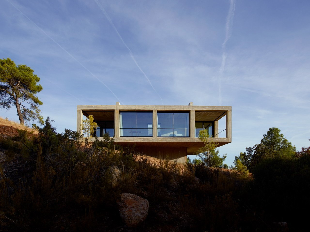 Trees, Shrubs, House, Outdoor, and Concrete  Best Outdoor House Concrete Photos from Stacked Concrete Squares Make Up This Incredible Vacation Home in Aragon, Spain