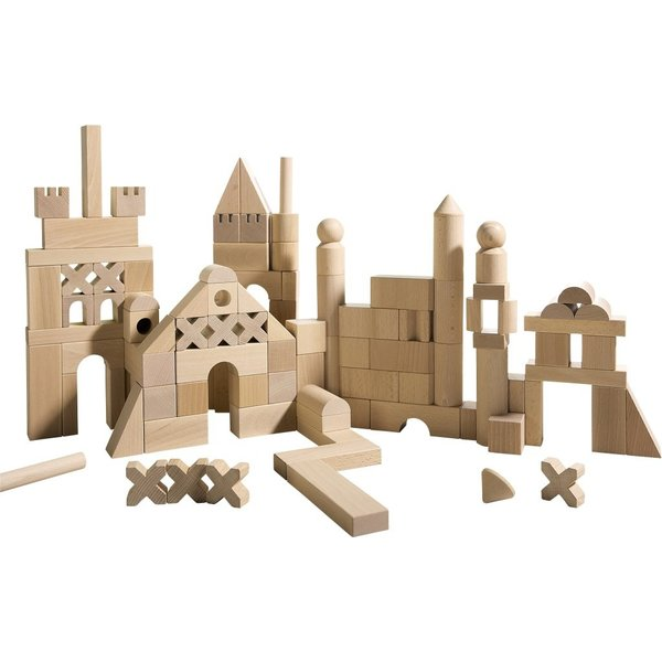 Haba's wooden architectural building sets range from $39.99 to $44.99.