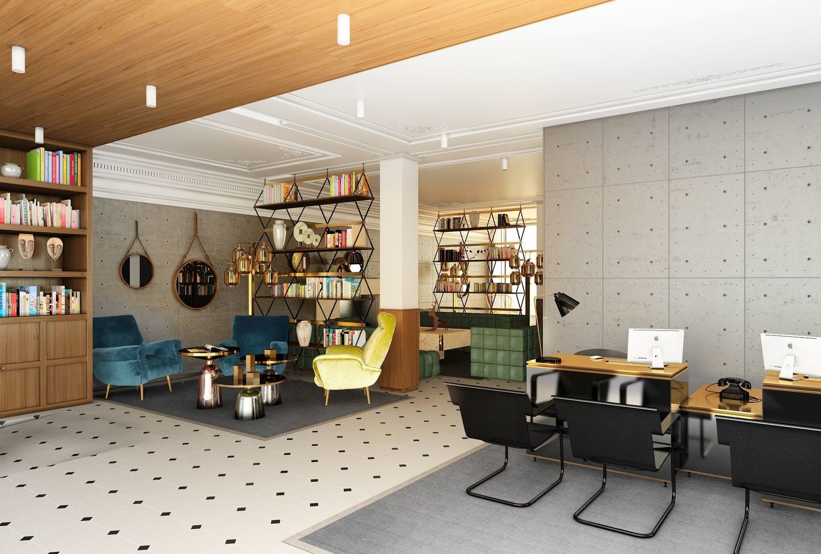 Living Room, Table Lighting, Desk, Coffee Tables, Rug Floor, Ceiling Lighting, Bookcase, and Chair  Photo 1 of 8 in A New Hotel in Paris That's Designed to Give Guests a Taste of Modern Parisian Living