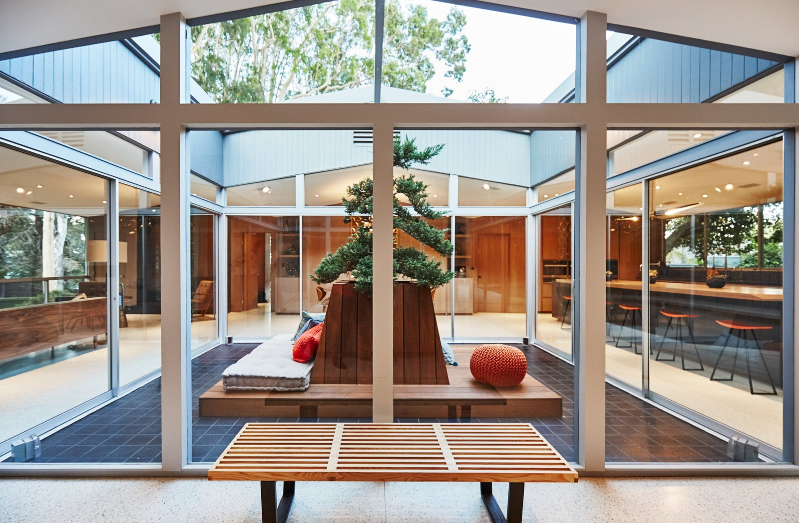 Outdoor, Planters Patio, Porch, Deck, and Wood Patio, Porch, Deck  Photo 4 of 10 in A Hexagonal Midcentury Residence in Southern California Offered at $2.89M