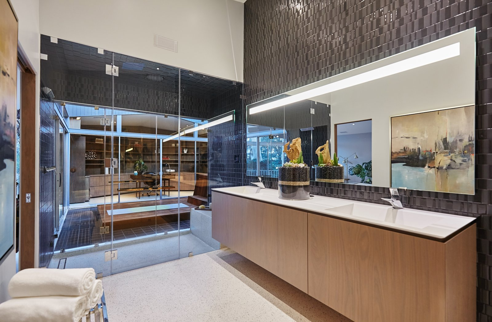 Bath Room, Soaking Tub, Terrazzo Floor, Ceramic Tile Wall, and Drop In Sink  Photo 9 of 10 in A Hexagonal Midcentury Residence in Southern California Offered at $2.89M