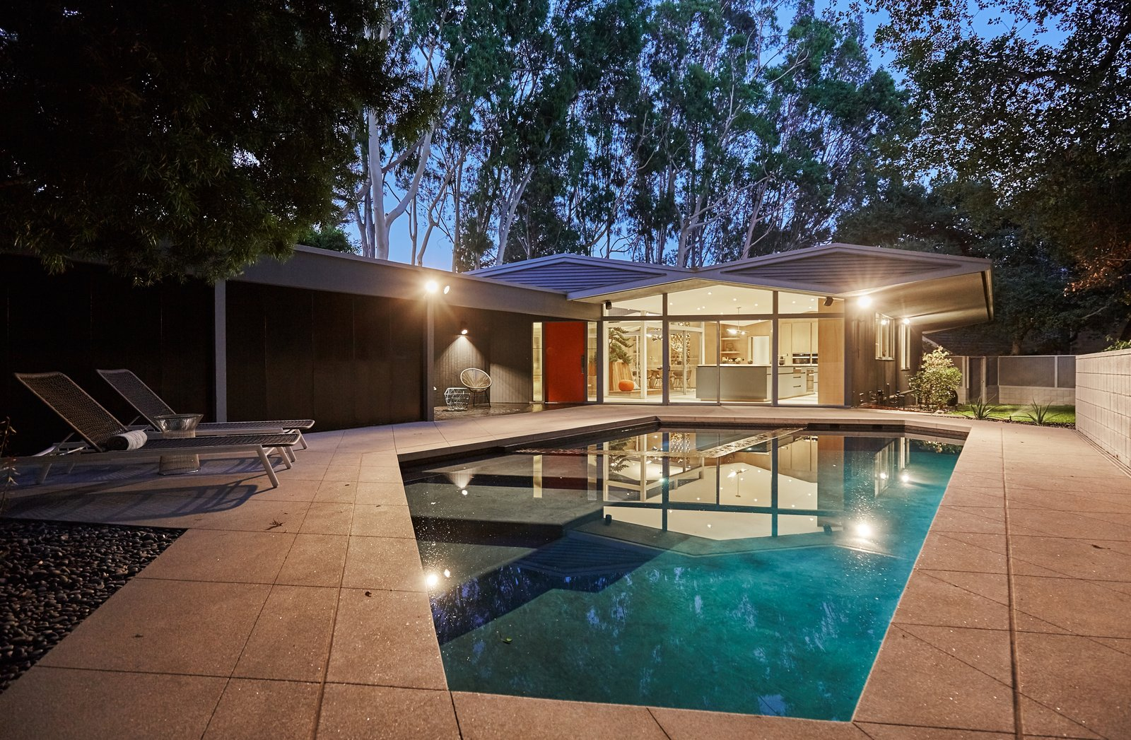 Outdoor, Swimming Pools, Tubs, Shower, and Back Yard  Photo 10 of 10 in A Hexagonal Midcentury Residence in Southern California Offered at $2.89M
