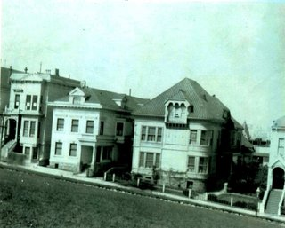 Historic photograph, not dated, post-1902. The subject property is shown at the far left with the original detailing intact. This image, representing the most authentic snapshot of the home's original appearance, was critical to the facade's reconstruction.